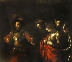 Caravagio, Utrpení svaté Voršily, 1610. Olej na plátně, 154 x 178